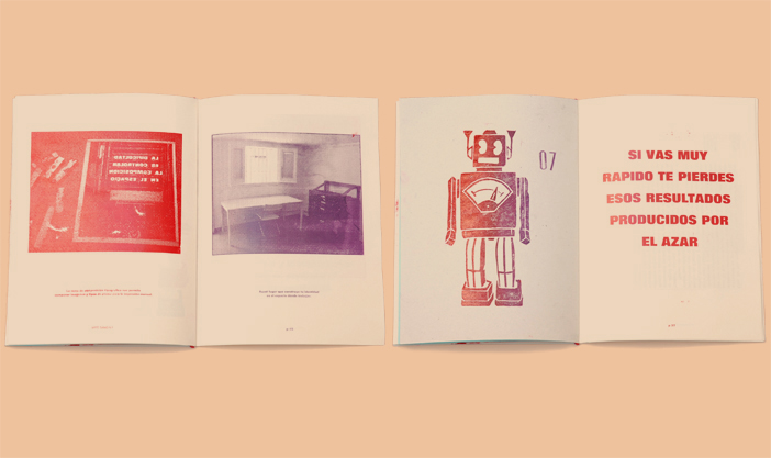 Fanzine Arte Sano interior with images, engraving and letterpress