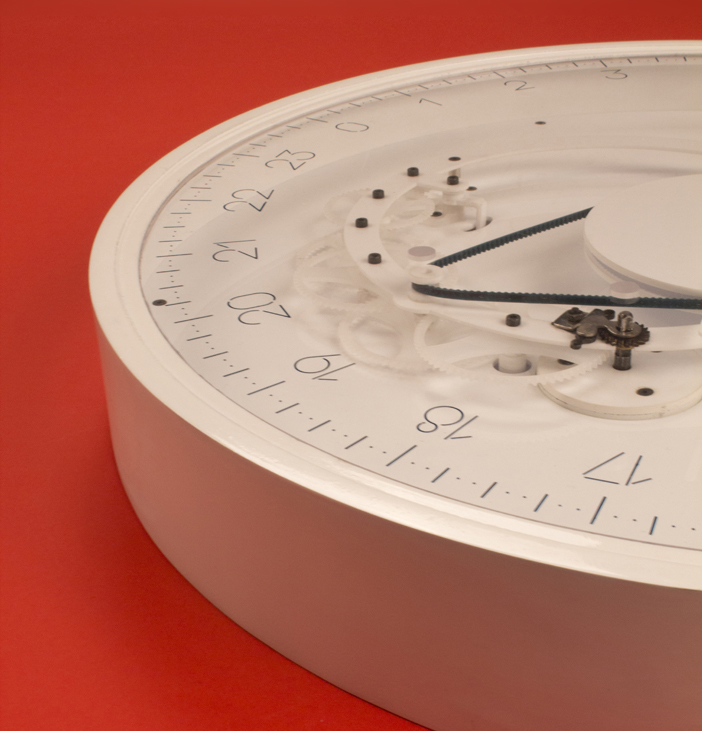Detail view of the typeface designed for Slowclock wall clock