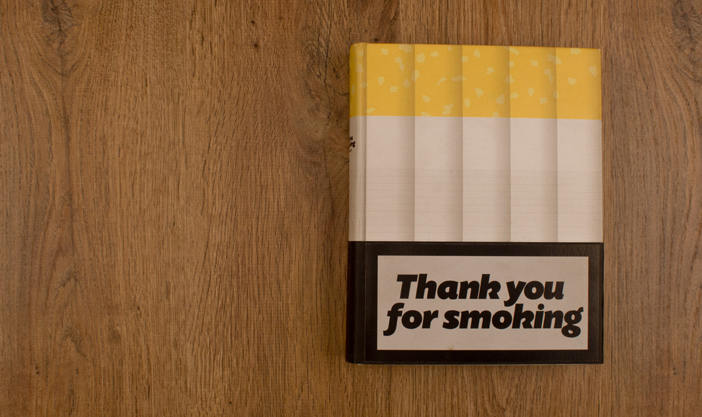Book cover of Thank you for smoking publication emulating a tobacco box